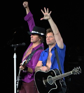 Richie Sambora and Jon Bon Jovi perform in Las Vegas on April 12, 2008.