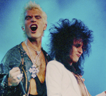 Billy Idol and Steve Stevens perform during the Rebel Yell tour in San Diego.
