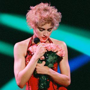 Madonna performs in 1987 at Anaheim Stadium.