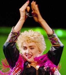 Madonna performs at Anaheim Stadium in 1987.