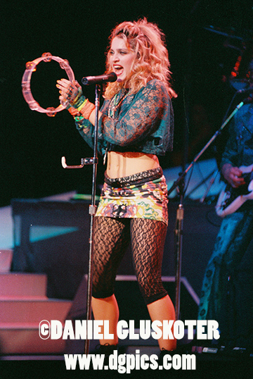 Madonna performs in 1985 at the Paramount Theatre in Seattle.
