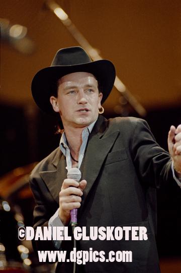 Bono of U2 performs during the Joshua Tree tour of 1987.