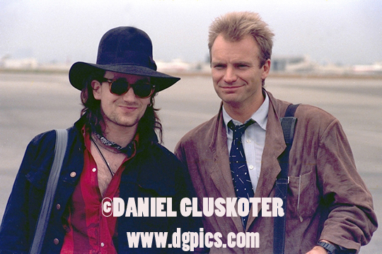 Sting and Bono on the tarmac at Los Angeles International Airport prior to a 1988 Amnesty International performance.