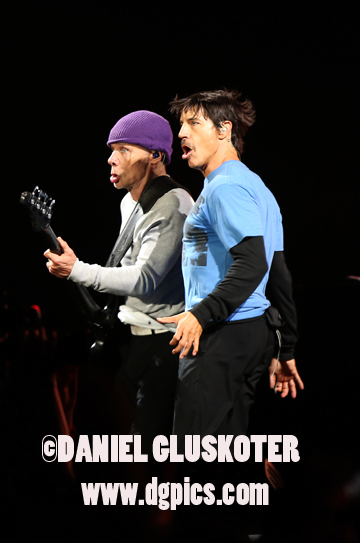 August  11 2013: Flea and Anthony Kiedis ( pictured L-R ) of the Red Hot Chili Peppers perform in concert at Golden Gate Park in San Francisco, CA on August 11, 2013. The band headlined the closing night of the sixth Outside Lands festival.