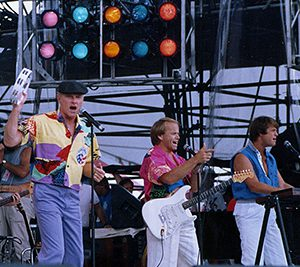 David Marks, Mike Love, Al Jardine and Brian Wilson ( pictured L-R ) of the Beach Boys perform at Live Aid in Philadelphia on July 13, 1985.