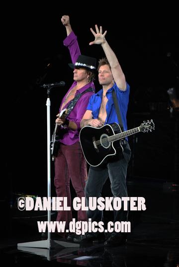 Richie Sambora and Jon Bon Jovi perform in Las Vegas on April 12, 2008.