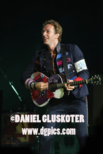 Chris Martin of Coldplay during the Viva La Vida tour in Omaha, Nebraska in 2009.