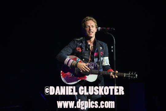 Chris Martin of Coldplay during the Viva La Vida tour in Omaha, Nebraska in 2009.